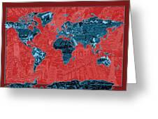 World Map Landmark Collage 11 Greeting Card