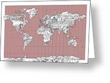 World Map Landmark Collage 2 Greeting Card