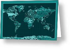 World Map Landmark Collage 4 Greeting Card