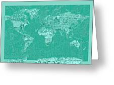 World Map Landmark Collage Green Greeting Card