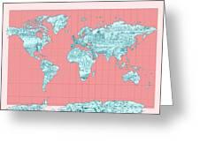 World Map Landmark Collage Greeting Card