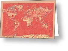 World Map Landmark Collage Red Greeting Card