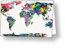 World Map Greeting Card by Mike Maher