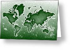 World Map Novo In Green Greeting Card