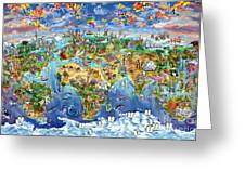 World Map Of World Wonders Greeting Card