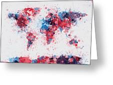 World Map Paint Splashes Greeting Card by Michael Tompsett
