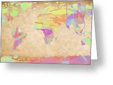 World Map Pastel Watercolors Greeting Card