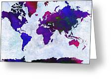 World Map - Purple Flip The Light Of Day - Abstract - Digital Painting 2 Greeting Card