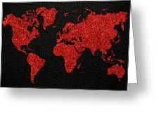 World Map Red Fabric On Dark Leather Greeting Card