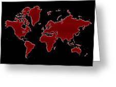 World Map Red Grid Greeting Card