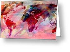 World Map Splash Of Color Greeting Card