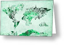 World Map Watercolor 4 Greeting Card