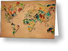 World Map Watercolor Painting 2 Greeting Card