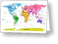 World Map With Big Text  Greeting Card