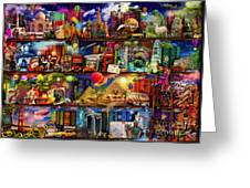 World Travel Book Shelf Greeting Card