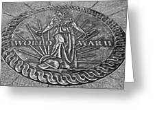World War II Medallion Bw Greeting Card