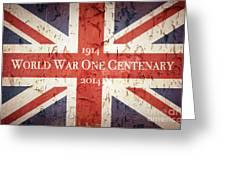 World War One Centenary Union Jack Greeting Card by Jane Rix