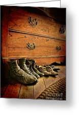 Worn Family Shoes Linded Up Greeting Card
