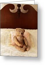 Worn Teddy Bear On Bed Greeting Card