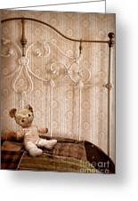 Worn Teddy Bear On Brass Bed Greeting Card