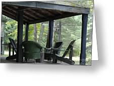 Worn Wicker Chairs On Old Veranda Greeting Card