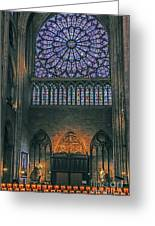 Worship In Notre Dame Greeting Card