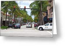Worth Ave Palm Beach Fl Facing West Greeting Card