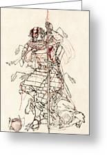 Wounded Samurai Drinking Sake C. 1870 Greeting Card