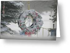Wreath In A Snow Storm Greeting Card