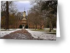 Wren Building In Snow Greeting Card