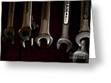 Wrenches Hanging On The Shop Wall Greeting Card by Wilma  Birdwell