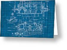 Wright Brothers Aero Engine Vintage Patent Blueprint Greeting Card