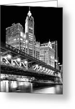 Wrigley Building At Night In Black And White Greeting Card