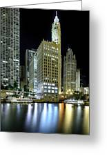 Wrigley Building At Night  Greeting Card