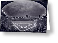 Wrigley Field Night Game Chicago Bw Greeting Card