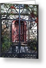 Wrought Iron Gate And Red Door Charleston South Carolina Greeting Card