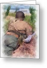 Ww II Us Army Soldier Photo Art Greeting Card