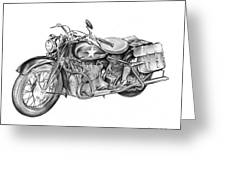Ww2 Military Motorcycle Greeting Card