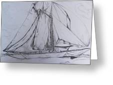 Wwii Schooner Brilliant Modification Greeting Card