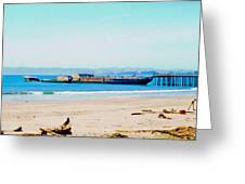 Wwii Ship At Sea Cliff Beach Greeting Card