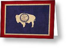 Wyoming State Flag Art On Worn Canvas Greeting Card