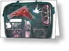 X-ray Of A Briefcase With A Gun Greeting Card