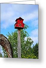 Yachats Red Birdhouse Greeting Card