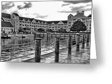Yacht And Beach Club After The Rain In Black And White Walt Disney World Greeting Card