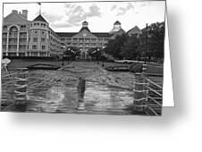 Yacht And Beach Club In Black And White Walt Disney World Greeting Card