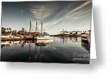 Yacht At The Pier On A Sunny Day Greeting Card