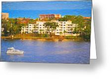 Yacht On The Water Greeting Card