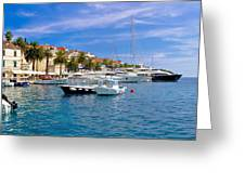 Yachting Harbor Of Hvar Island Greeting Card