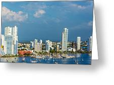 Yachts And Modern Cartagena Greeting Card