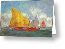 Yachts In A Bay Greeting Card